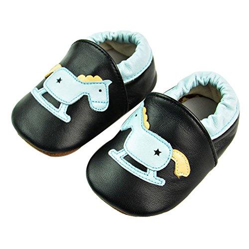 Tongchou Babys Jongens Meisjes Zachte Zool Lederen wieg Schoenen Baby Peuter 0-24 Maanden 6-12 Months Paard