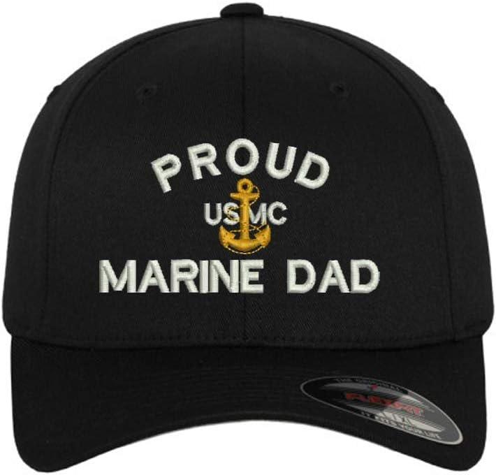 MILITARY Proud Dad Flexfit Baseball Cap Hat Black
