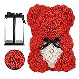 orso rosa - orsacchiotto rosa su tutti i regali per le donne -Orso dei fiori, regalo per lei- Scatola regalo trasparente inclusa! 10 Inche (red, 10inch)