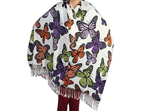 Yoga & Meditation Relaxation Boho Fashion Butterfly Print Scarf Gypsy Feel Pashmina Shawl Wraps 3076