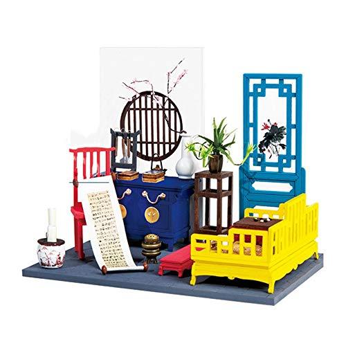 XMSIA Puppenhäuser Holzpuppen Kit DIY kreativer Raum Mini-Holzhaus Zimmer Craft mit Möbeln Mini Puppenhaus Das Beste Geburtstagsgeschenk mit LED, Unisex (Color : A, Size