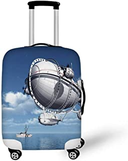 Zeppelin Decor Stylish Luggage Cover,Giant Aircraft over the Sea Flying Cloudy Sky Adventure Journey Image for Luggage,S(17.9''W x 24''H)