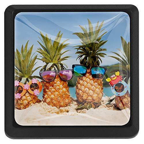 Fruta de playa con gafas 3 Piezas Perilla del Cajón del Gabinete,Mango de un Solo Orificio/Tirador de Puerta de Armario,Decoración del Hogar de Gabinete y Decoración del Hogar
