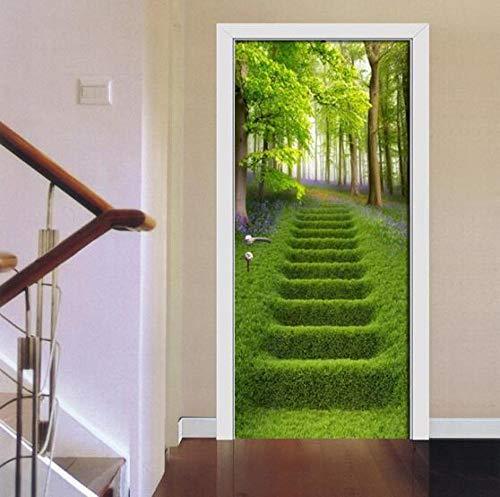 Sticker Mural groen hout weide ladder deur sticker pvc waterdicht zelfklevende afneembare woonkamer deur 3D wallpaper poster voor wooncultuur 77 * 200 cm