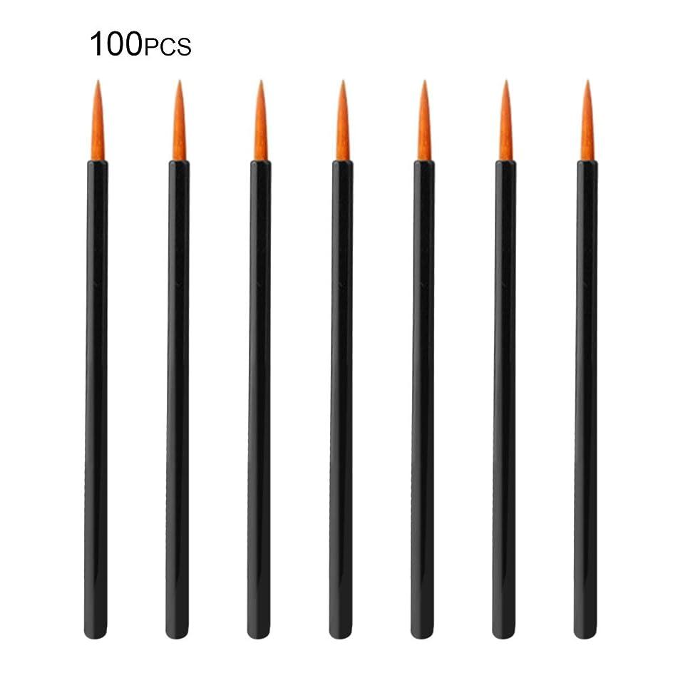 ますます桁める100pcs / lot使い捨てメイクアップアイライナーブラシ個別アプリケータ極細繊維綿棒メイクアップツール化粧品アクセサリー - ブラック&オレンジ