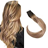 Full Shine Brown Extensions With Highlights Tape Ins 14 Inch Human Hair Balayage Black Roots 1B Fading To 18 And 12 Invisible Adhesive In Hair Extensions 20 Pcs 50 Grams Full Head