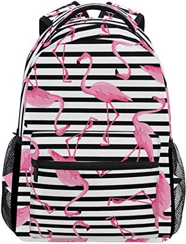 MODORSAN Mochila escolar Rayas blancas y negras Tropical Flamingo Mochila de viaje ligera Mochila universitaria para mujeres y niñas