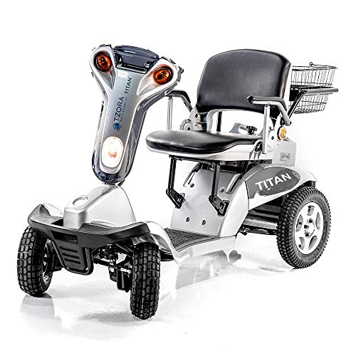 Hummer XL Folding 4-Wheel Electric Scooter Tzora Titan SILVER + CHALLENGER MOBILITY TM Accessories