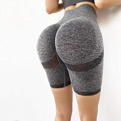 BUXIANGGAN Pantalon Yoga Sin Costuras Pantalones De Glúteos con Burbujas para Mujer, Leggings Ajustados con Cintura Alta, Pantalones Elásticos Sexis, Jeggings Elásticos-Grey_Short_Leggings_M