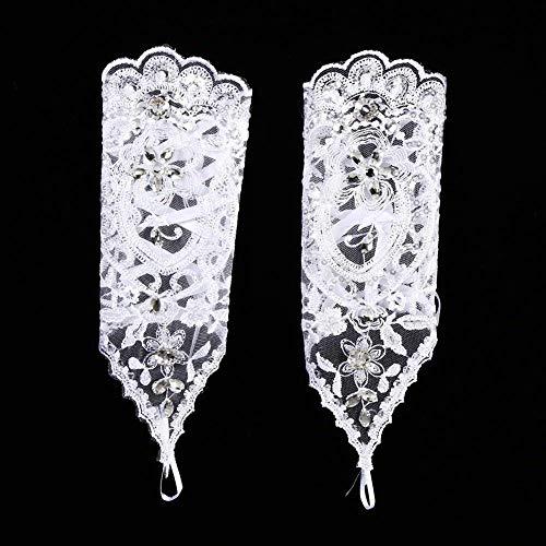 Brauthandschuhe Spitzenhandschuhe Hochzeit Braut Hochzeitshandschuhe Brautkleid Spitze Fingerlose Handschuhe mit Spitze Blumen für Hochzeitsfest ( Farbe : Weiß ) - 8