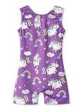Leotards for Girls Gymnastics Unicorn Sparkly Pink Biketards Stars Rainbow Clouds (Purple Unicorn, 90(2-3 years old))