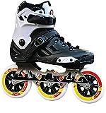 TAIDENG Patines en línea, Ruedas de 3 Ruedas de 110 mm de 110mm Adulto Skates de una Sola Fila Flash Full Flash Rueda Amarilla en Blanco y Negro (Color : A, Size : EU 41/US 8/UK 7/JP 25.5cm)