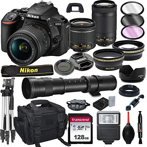 Best Price Nikon D5600 DSLR Camera with 18-55mm VR and 70-300mm Lens Bundle with 420-800mm Preset f/...