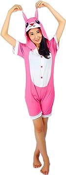 Kenmont Unicorn Pijamas Traje Disfraz Adulto Animal Pijamas Cosplay Halloween Verano (XL: 175-185cm, Rose Conejo)