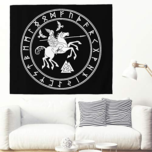 Tapiz de pared vikingo antiguo, para tatuar, dios celta, para casco, caballos, runas muertas, tapiz de pared, estilo escandinavo, decoración de pared, estilo nórdico 200x150cm blanco