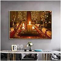 アートパネル ZAJFBH キャンドルライトディナーワイングラススカンジナビアポスターとプリント現代の風景キャンバス絵画壁アート写真リビングルームの装飾 11.8x15.7in(30x40cm)x1pcs フレームなし フレームなし