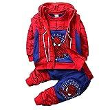 子供服 スパイダーマンパーカー 男の子 女の子 上下セット 男女兼用 3点セット キッズ ジャージ スーパーヒーローコスチュームユニセックス (130cm, D Blue)