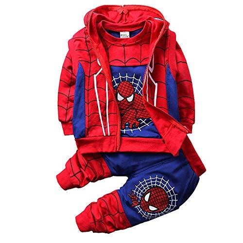 Ropa Niño Spiderman Sudaderas con Capucha Manga Larga Conjuntos Camisetas Tops Pantalones Bebé Abrigo (D Blue,110cm)