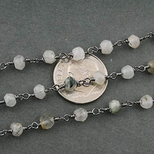 LKBEADS Cadena estilo rosario rutilo negro de 4 mm a 5 mm, cuentas de cuarzo turmalited con alambre negro, cadena con cuentas de código HIGH-13809