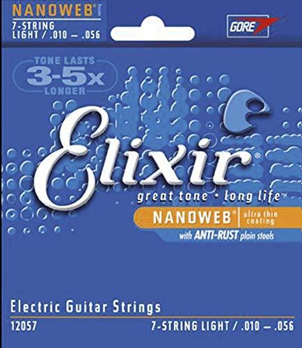 Cuerdas para guitarra eléctrica de 7 cuerdas Elixir Strings con recubrimiento NANOWEB, calibre ligero (.010-.056)