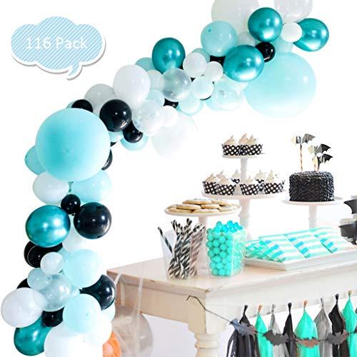 116PCS Balloon Garland Kit, DreamJ Balloon Garland Arch Kit with Tiffany Blue,White,Black,Metallic Balloons for Baby Shower Bridal Shower Engagement Wedding Birthday Anniversary Party Decoration