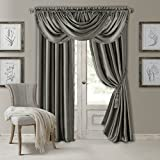 Elrene Home Fashions Versailles Faux Silk Room Darkening & Energy Efficient Lined Rod Pocket Window Curtain Drape Pleated Solid Panel, 52' x 108' (1, Gray