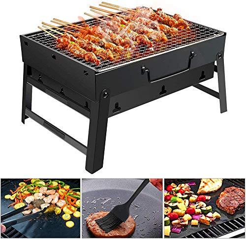 Barbecue Draagbare Barbecue BBQ Grill Roestvrijstalen opvouwbare barbecue-houtskoolgrill met BBQ Net, BBQ Clip en Olieborstel voor Outdoor Camping Festival Garden Picnic Party