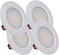 LEDLUX 4 stuks mini-led-inbouwspots, rond, smal, 3 W, DC 12 V, 24 V, boring 50 mm, voor keuken, badkamer, camper (wit, 600...