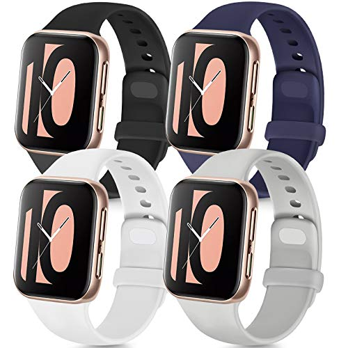 Tobfit 4 Pack Sport Bands Compatible with Smartwatch 38mm 42mm 40mm 44mm, Soft Silicone Replacement Band Compatible with iWatch Series 5 4 3 2 1 (Black/Gray/White/Navy Blue, 42mm/44mm M/L)