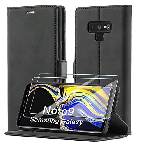 xinyunew Schutzhülle für Samsung Galaxy Note 9 Hülle, Leder Flip Wallet Schutzhülle, Magnetverschluss Leder Flip Schutzhülle Lederhülle für Samsung Galaxy Note 9 Hülle (Schwarz)