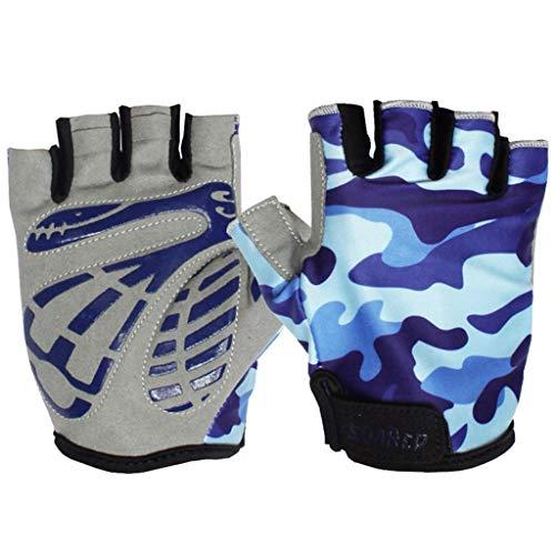 Gogokids Kids Half Finger Cycling Gloves - Children Sports Gloves for Roller Skating, Road Bicycle, Mountain Bike, Climbing, Blue M