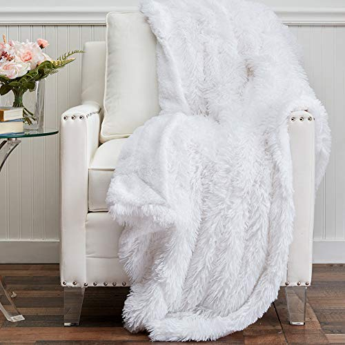 The Connecticut Home Company Soft FluffyShagBed Throw Blanket, Luxury Sherpa Reversible Blankets, Comfy Plush Washable Accent Throws for Sofa Beds, Couch, Fuzzy Cozy Home Bedroom Decor,65x50, White
