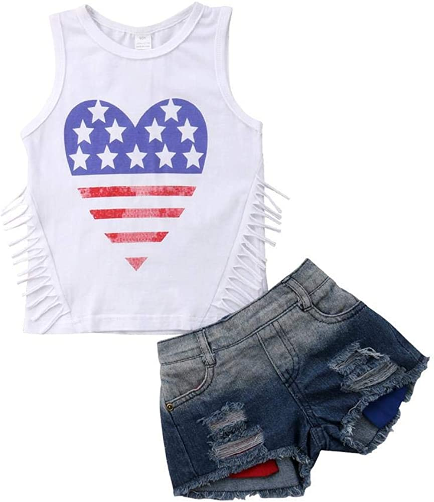 Toddler Kids Girl 4th of July Outfit American Flag Top Shirt +Short Pant Independence Day Set Summer Clothes