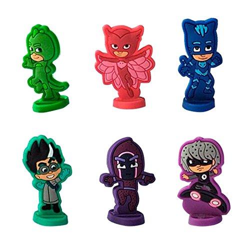 Mini Figuras Pj Masks -Multicolor - para Decorar Tarta de Cumpleaños Infantil 6 Piezas - 4cm