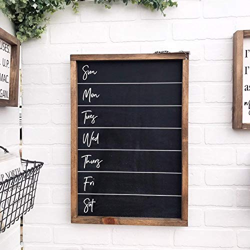 Flowershave357 Weekly Menu Chalkboard Framed Wood Sign Kitchen Wall Hanging Custom Home Decor Farmhouse Style to Do List Sunday Through Saturday