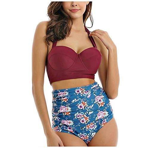 KEERADS - Bikini para Mujer, Conjunto de Bikini Bandeau Dividido, Push up, Punto de polaca de Dos Piezas con Cintura Alta, Bikini, bañador, Sujetador para el Cuello, Estilo Retro Rojo Vino. L