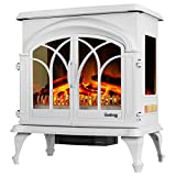 e-Flame USA 28' XL Denali Portable Freestanding Electric Fireplace Stove - 3-D Log and Fire Effect (White)