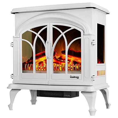 """e-Flame USA 28"""" XL Denali Portable Freestanding Electric Fireplace Stove - 3-D Log and Fire Effect (Black)"""
