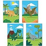ChicResult Wandbilder 4er Set Dinosaurier aus Papier 350 g/m² - Hochwertige DIN A4 Hochformat Poster für Kinderzimmer Jungen oder Mädchen - Wanddeko, Kinderposter (ohne Bilderrahmen)