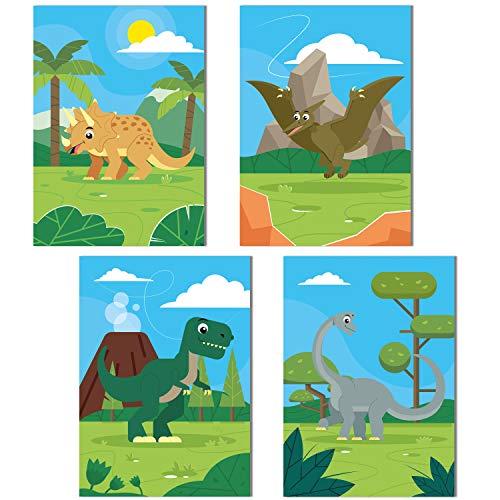 ChicResult Wandbilder 4er Set Dinosaurier aus Papier 350 g/m² - Hochwertige DIN A4 Hochformat...