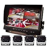 EKYLIN 9'AHD Truck Parking Backup y vigilancia DVR incorporada 4 cámaras para Camiones Bus Trailer Autocaravana 12V-24V Sin luz Visión Nocturna 4-Pin a Prueba de Golpes