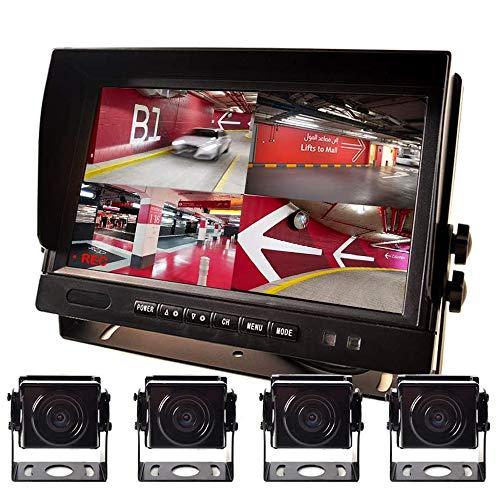 """9\"""" AHD Rückfahrkamera Parksystem Kit Eingebauter DVR-Überwachungs IPS Monitor + 4 Kameras 4-PIN Stoßfest 4 Kanal Getrennt 720P HD Aufnahme Ohne Licht Nachtsicht für 12V-24V Truck Bus Trailer Motorhome"""