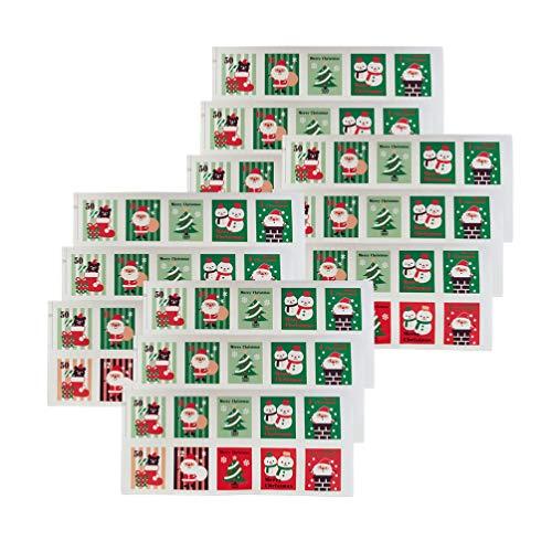 STOBOK 12 hojas pegatinas de sellado de Navidad sello de Navidad sello regalo pegatinas de santa vinilo decorativo