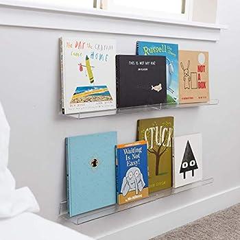 Nursery Bookshelf Acrylic Shelves and Acrylic Cube Organizer Set! 4X Floating Shelves for Wall 17in 2X Acrylic Organizers and Storage Makeup Holder or Pen Holder Clear Acrylic Shelf Ledge Shelf