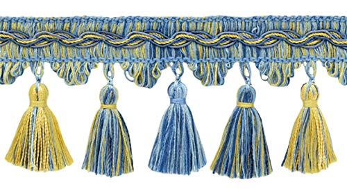 Best Review Of DÉCOPRO 18 Yard Value Pack of Veranda Collection 3.5 Inch Tassel Fringe Trim - Champ...