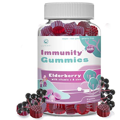 Lunaki Elderberry Gummies for Kids Immune Support Booster Gummy Toddler Vitamin Supplement Plus Zinc & C Vitamins Non-GMO, No Corn Syrup, Gelatin Free, Vegan, Natural Black Sambucus