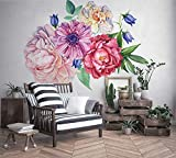 Murwall Peony Large Floral Wall Decal for Bedroom Watercolor Floral Wall Sticker for Livingroom Red Pink Peonies Tulip Daisy Bouqet Decals Colorful Blossom Removable Peel n Stick