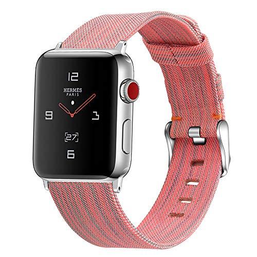 Paquete de 2 bandas de lona compatibles con Apple Watch Band 38 mm 40 mm, correa de repuesto de tela compatible con iWatch Series 6 5 4 3 2 1 SE Sport, multicolor