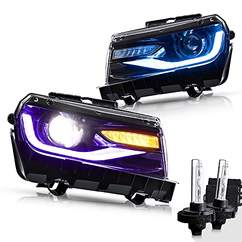 VLAND Multicolor DRL Projector LED Headlights & D2H Xenon Bulbs Compatible for [Chevy Camaro 5th Gen 2014 2015] with Sequential Turn Signal, Dual Beam Lens (Driver & Passenger Sides) (RGB+BULBS))