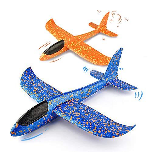 VCOSTORE - Avión Planeador de Espuma para lanzar, actualización de 2 Modos de Vuelo EEP, avión de inercia Manual, avión Duradero para niños, Juguetes Deportivos al Aire Libre o Regalo, 2 Piezas